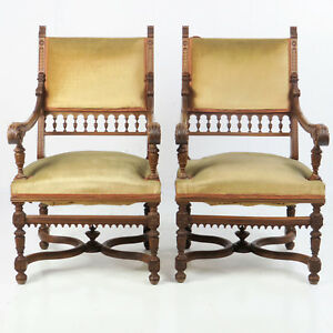 Pair Antique French Renaissance Upholstered Beautifully Carved Oak Arm Chairs