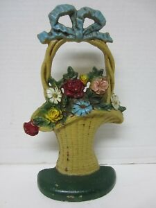Vintage Hubley Cast Iron 69 French Basket Of Flowers Door Stop Original Paint