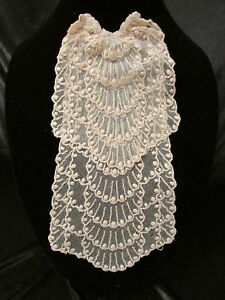 Vintage Antique Peach Embroidered Net Lace Jobot Collar