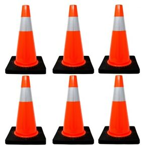 6 Pcs 18 Pvc Traffic Safety Cones With 4 Reflective Collar Road Parking Hazard