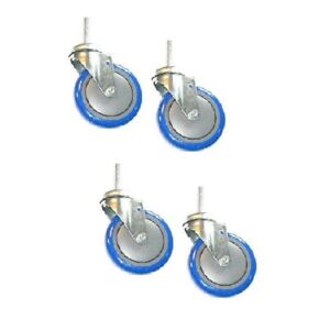 Four 5 X 1 1 4 Polyurethane Swivel 1 2 13 Threaded Stem Casters