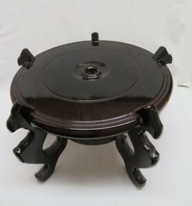 Black Lacquer Wood Vase Stand 12