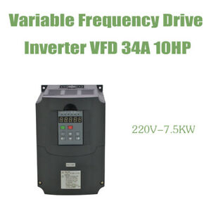 Vfd Variable Frequency Drive Inverter 10hp 34a 7 5kw 220v