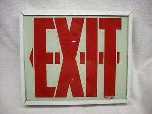 Vintage Glass Exit Sign Glow In The Dark 120 V