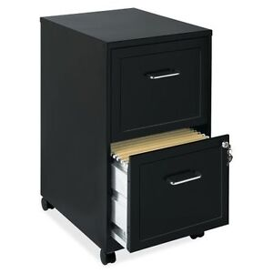 Filing Cabinet 2 Drawer Black Metal Locking Mobile Office Vertical Storage