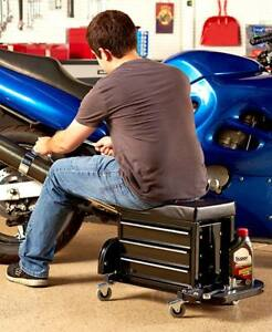 Rolling Work Seat With Built In Toolbox Vinyl Padded Cushion 3 Drawer Tool Tray