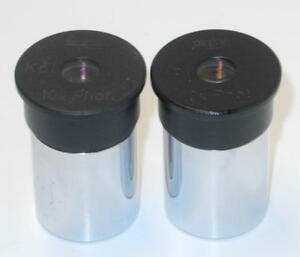 Two Wild Heerbrugg 10x Phot Photo Microscope Eyepieces