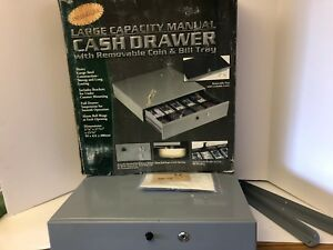 Swinton Large capacity Manual Cash Drawer 3 7 8 X 17 3 4 X 15 7 8 Gray