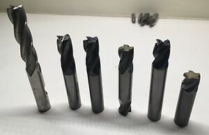 Lot Of Metal Removing End Mills 1 2 4 And 5 Flute End Mills Qty 6