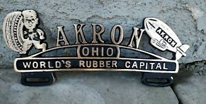 Akron Ohio License Plate Topper Rare Brass Edelbrock Rat Rod 1932 Ford Coupe 427