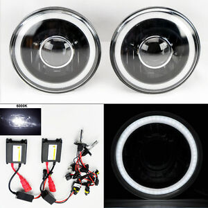 7 Round 6000k Hid Xenon H4 Black Projector Glass Ccfl Halo Headlights Pair