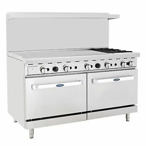 Atosa Ato 48g2b 60 Gas Range With 2 Burners 48 Griddle 2 Ovens