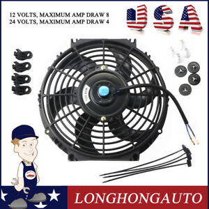1x 10 Inch Universal Slim Pull Push Racing Electric Radiator Engine Cooling Fan