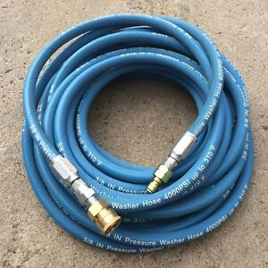 4000psi 3 8 X 50ft Blue Non marking Pressure Washer Hose W Qc Fittings