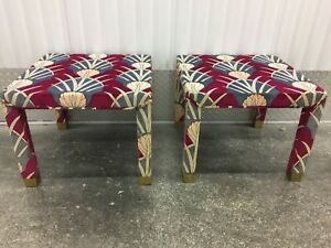 Mid Century Modern Pair Parsons Side Tables Stools In Jack Lenor Larsen Fabric