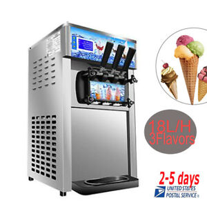 portable Soft Serve Ice Cream Machine 3 flavor Frozen Yogurt Machine Us Plug