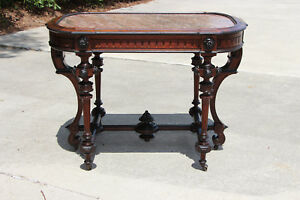 Magnificent Large Ornate Walnut Victorian Marble Top Library Center Table Ca1870
