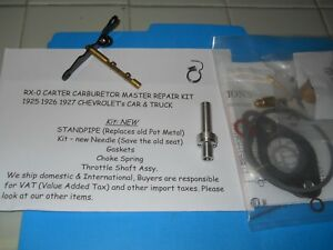 Rx 0 Major Repair Kit 1925 1926 1927 Chevrolet Carter Carburetor Brass Bowl