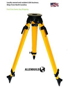 Flat Head Hd Wooden Tripod Survey Contractor Transit Total Station