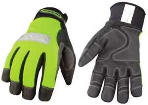 Safety Lime Waterproof Winter Gloves Large Per Pair