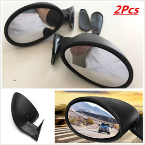 Pair Classic Door Wing Side Mirror Muscle Car Universal Vintage Black