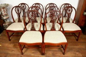 Hepplewhite Dining Chairs 10 Mahogany Carved Wheel Back