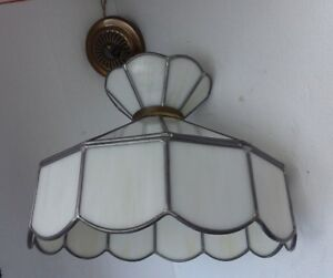 Vintage Stained Slag Glass White Ceiling Chandelier Swag Light Lamp Shade