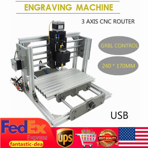 Mini Cnc 24x17cm Router Drill Kit Usb Desktop Metal Engraver Pcb Milling Machine