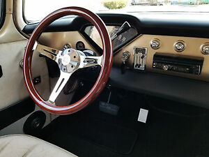 380mm Chrome Dark Steering Wheel Real Wood Grip 15 6 Hole C10 Chevy Blazer