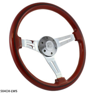 15 Inch 3 Spoke Slotted Steering Wheel Riveted Wood Grip 6 Hole Chevy C10 Truck