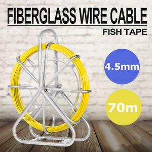 4 5mm 70m Fish Tape Fiberglass Wire Cable Running Rod Duct Rodder Puller Us