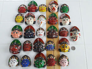 Hindu Mythology Diety Masks Lot Of 26 Paper Mache Hand Painted Miniatures