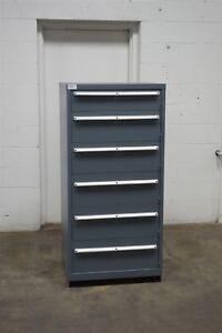 Used Lista 6 Drawer Cabinet Industrial Tool Parts Storage Bin 1460 Vidmar