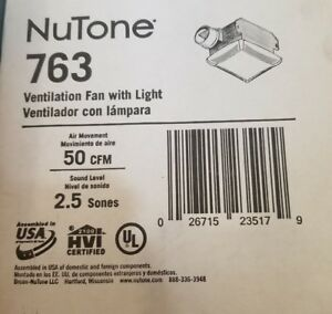 Nutone 763 Ventilation Fan With Light And Quite Operation 50 Cfm