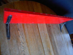 Vintage Red Farmhouse Country Shabby Wood Wall Shelf 29 5 Long Pre Owned