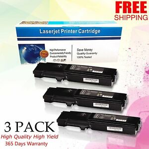 3 Pk Black Toner For Xerox Workcentre 6605 6605dn Phaser 6600 6600dn 106r02228