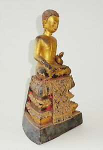 18c Northern Thailand Laotian Gilt Wood Seated Buddha Sculpture Mil M257