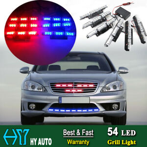 54led Car Emergency Warning Strobe Fire Fighter Grille Strobe Light Bar Red Blue