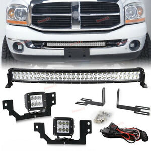 Fit 03 09 Dodge Ram 2500 3500 30 Curved Led Bar cube Fog Light Front Bumper Kit