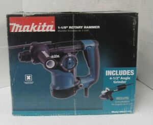 Makita Hr2811fx 1 1 8 Inch Rotary Hammer plus 4 1 2 Inch Angle Grinder 19e