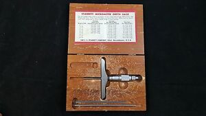 Vintage Starrett Gauge Micrometer Base Machinist Caliper Depth Gage 445 Usa