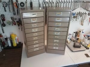 Vintage Metal Cabinet s 2 Lot Steel Slide Tool Storage Full 1000 s Of Slides