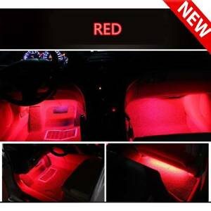 Car Decorative Light Lamps Led4x9 Led Red Charge Interior Accessories Foot Red