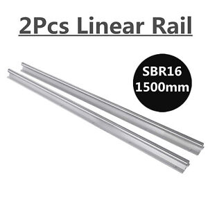 2x Sbr16 1500mm Linear Rail Fully Supported Slide Shaft Rod For Cnc 3d Printer