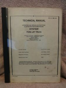 Hyster Fork Lift Truck Tech Manual Model H60xl Manual 0532 lp 000 1905