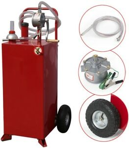 30 Gallon Gas Fuel Diesel Caddy Transfer Tank Container W Rotary Pump 8 Ft Hose