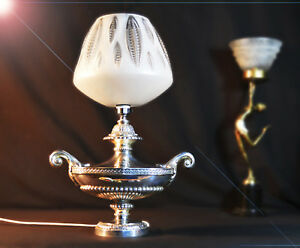 Rare 1940s Ornate Heavy Silver Plated Two Handled Aladdin S Table Lamp