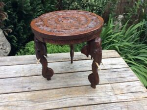Antique Anglo Indian Carved Padouk Rosewood Elephant Side Occasional Table