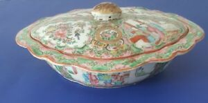 Antique 19th Century Chinese Export Porcelain Covered Bowl Rose Medallion