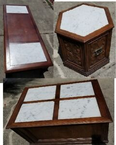 Marble Coffee End Tables Set Vintage Antique Style Unique Shapes Sizes